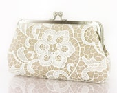 Bridal Bridesmaids White Guipure Lace Champagne Clutch Bag 8-inch L'HERITAGE