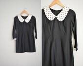 vintage '60s black MOD mini dress with contrast POLKA DOT collar. size s.