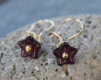 Tiny purple bell flowers - deep eggplant purple glass beads on 14k gold filled kidney earwire - free shipping in USA