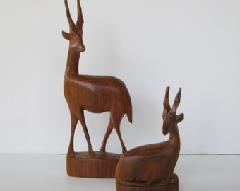 Wood Carved Gazelle Antelope Mother and Fawn