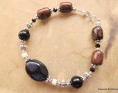Mahogany Obsidian and Matte Onyx Bracelet, Gemstone Jewelry, Handcrafted Jewelry, Bone Jewelry, Native Inspired Jewelry