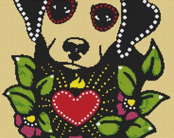Labrador Dog Cross Stitch Kit By Illustrated Ink - Skeleton Pet - Day of the Dead Tattoo