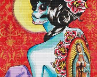 Modern Cross Stitch Kit By Carissa Rose 'No Hard Feelings' Day of the Dead Cross Stitch Kit