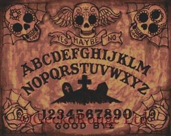 Modern Cross Stitch Kit By Shayne of the Dead 'Day of the Dead Ouija Board' - Needlecraft kit