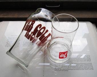 Three Whopping Vintage Soda Pop Glasses * Super Cola, Seven Up, Pepsi  Retro Pop Glasses * Oversized Soda's * Supersize * 1970's Glasses