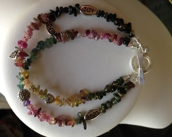 Bracelet - Two Strands of Watermelon Tourmaline with a Mix of Charms