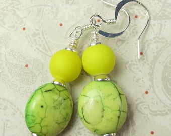 Neon Yellow rubber bead with mint green magnesite earrings - neon yellow and green earrings holiday earrings bright yellow dangles