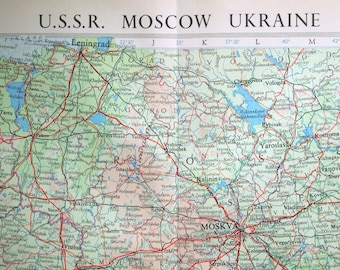1958 Vintage Map of the USSR - Moscow and the Ukraine - Vintage USSR Map - Large map - Soviet Union Vintage Map