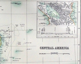 1890 Large Vintage Map of Central America. Antique Central America Map. From Scribner's Library Edition Atlas