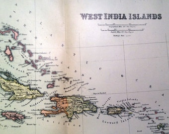 1901 Antique Map of the West India Islands (West Indies)