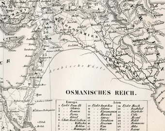 1860 German Vintage Map of the Ottoman Empire - Ottoman Empire Map - Historical Map