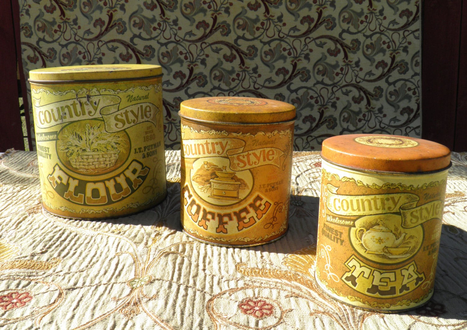 28 country kitchen canister set french country s 3 canister country kitchen canister set rustic canister set vintage tin litho country by