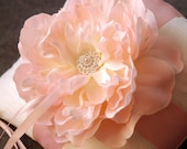 Ring Bearer Pillow - Ivory Silk Ring Pillow With Pink Flower - Rachelle