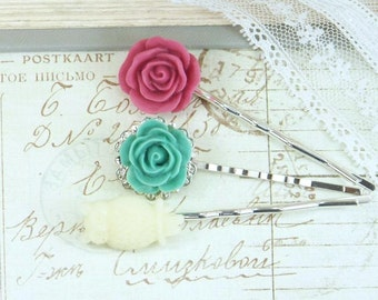Flower Bobby Pins Clearance Hair Pins Rose Hair Pins Hair Pin Set Floral Hair Pins Clearance Bobby Pin Set