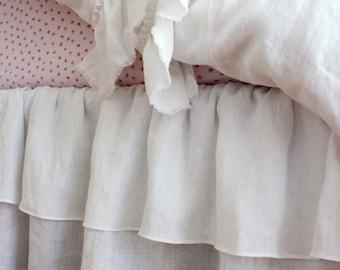 IVY..BED SKIRT in 100% linen, dust ruffle