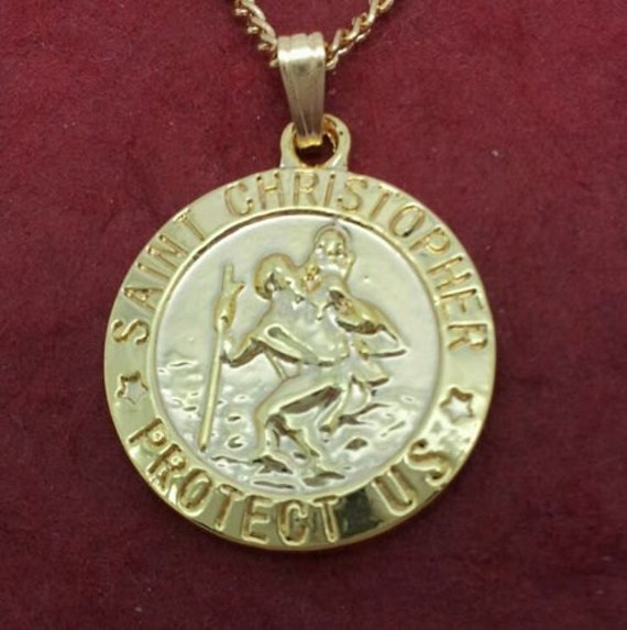 st christopher necklace gold plated charm pendant and chain. Black Bedroom Furniture Sets. Home Design Ideas