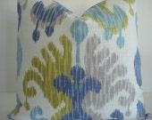 IKAT-LINEN-Braemore Journey Aquamarine- Decorative Pillow cover - Designer Fabric -Citron/Blue/Aqua and Ivory Throw/Toss/ Lumbar Pillow
