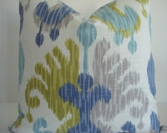 IKAT-LINEN-Braemore Journey Aquamarine- Decorative Pillow cover - Designer Fabric -Citron/Blue/Aqua and Ivory Throw/Toss/ Lumbar Pillow