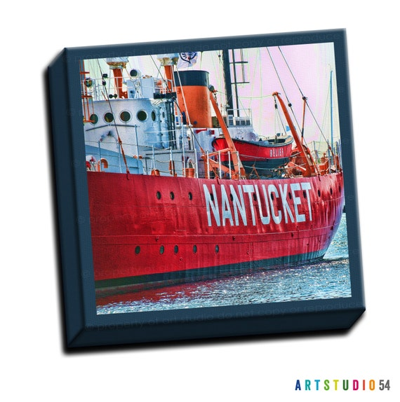 "Nantucket Boat - Blue Red Teal -  6""x6"" to 36""x36"" - 1.25"" Deep - Gallery Wrapped Canvas - artstudio54"