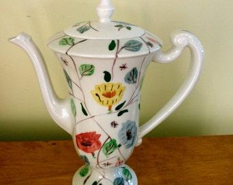 vintage Blue Ridge Southern Potteries Chintz pattern chocolate pot