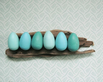 Hand Painted Wooden Wild Bird Eggs American Robin Collection set of six natural rustic home decor
