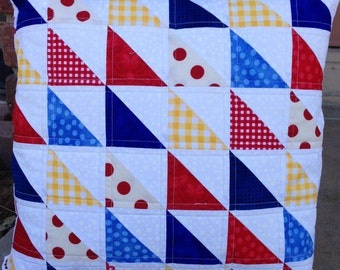Handmade patriotic quilted pillow cover - patchwork vintage sheets stars