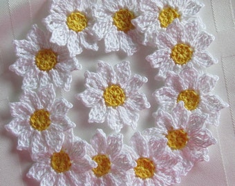 Crochet Daisy Flowers, Handmade, White, Yellow, Appliques - set of 12
