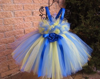 BLUE AND YELLOW. Tutu Dress.  Birthday Tutu Dress.  Flower Girl Gown.   Photo Shoot Tutu Dress.  Princess Tutu Dress.  Girl Tutu Dress.