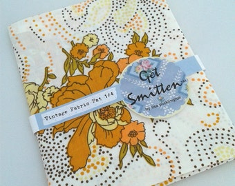 Orange & Brown Retro Floral Vintage Fabric Fat Quarter