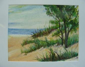 "Sandy Beach, Turquoise Lake, Daylight, Lake Michigan, Beach Grass, Summer Beach Painting-Original 8""x 10"" Watercolor,  by Janet Dosenberry"