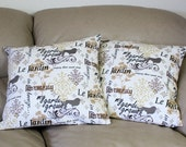 TWO Decorative Throw Pillow Covers in French Script - Black, Taupe, Natural, Birds and Script 16 or 18 inches, My Garden Grows Fabric  B2-3