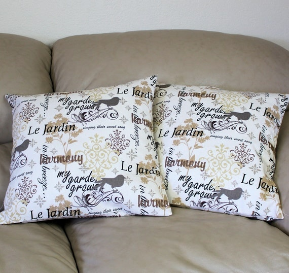Throw Pillows With French Script : TWO Decorative Throw Pillow Covers in French by QuiltSewPieceful
