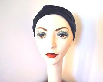 1940s cap vintage 40s black satin Bonwit Teller cloche hat
