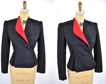 1980s blazer vintage 80s black modern red collar suit jacket S