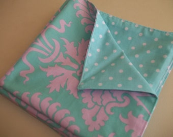 Cloth Napkin Set of 4 Amy Butler Love Floral Fabric Aqua and Pink