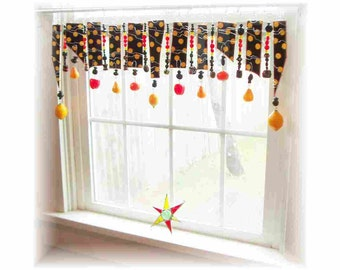 OOAK Fun and Fruity Black and Yellow Handpainted Stained Glass Window Treatment Valance Curtain Kitchen