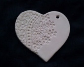 White Porcelain Heart Ornament