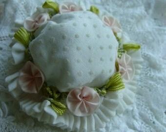 Antique Ribbon Work Handmade Small Doll Bonnet/ Hat Stunning