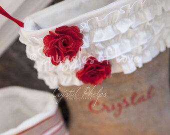 Personalized Burlap Christmas Stocking - EMBROIDERED - Shabby Chic Stocking - Cream Ruffles and Red Burlap Flowers - Burlap Stocking