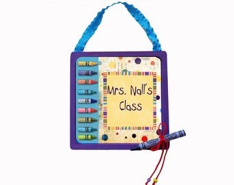 Teacher Door Sign Personalized Wooden & Framed Crayon