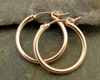 Rose Gold Filled Hoops - Large 27mm - One Pair - rgfh27