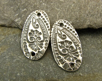Floral Paisley Links - Artisan Sterling Silver Oval Links With Intricate Texture - One Pair - Artisan Sterling Silver Findings - lfpo