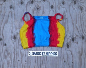 Yellow, Red and Blue Tie Dye Crop Top (Dharma Trading Co. Size XL) (One of a Kind)