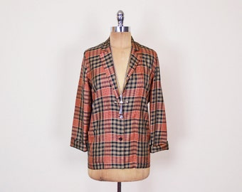 Vintage 80s Red Plaid Blazer Jacket Tartan Blazer 100% Silk Blazer Oversize Blazer Boyfriend Blazer 90s Grunge Preppy Women S Small M Medium