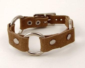 Chopper Bracelet - Suede & Metal Cuff