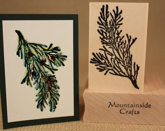 CEDAR BOUGH Rubber Stamp~Pine Branch~Evergreen Tree Branch~Christmas Tree Branch~Wood Mounted Rubber Stamp (24-09)