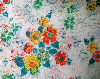 Vintage Lace Floral Fabric /Shabby/Cottage/Boho/ Vintage 60's/70's Lace / Floral Print Lace Fabric /  Vintage Textile / Vintage Supplies