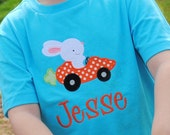 Boy's Easter shirt. Bunny in carrot shaped car applique. Personalized. Can customize. Sizes NB to youth small.