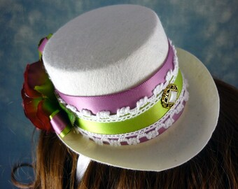 SALE - Harlequin Green and Mademoiselle Pink Mini Top Hat