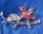 Coral Glass Bird, Simulated Pearls (Eggs) in Nest by GERRYS ~ Fabulous & Charming Figural Brooch